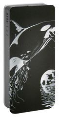 Portable Battery Charger featuring the drawing Orca Sillhouette by Mayhem Mediums