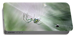 Portable Battery Charger featuring the photograph Orchard Orbweaver Spider  by Trina Ansel