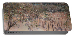 Orchard With Flowering Apple Trees Portable Battery Charger
