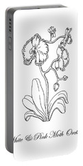Orchid Flower Botanical Drawing Black And White Portable Battery Charger