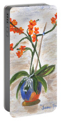 Portable Battery Charger featuring the painting Orchid by Jamie Frier