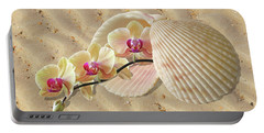 Orchids And Shells On The Beach Portable Battery Charger by Gill Billington