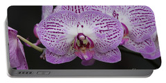 Orchids On Black Portable Battery Charger
