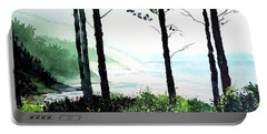 Portable Battery Charger featuring the painting Oregon Coast by Tom Riggs