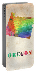 Oregon Colorful Watercolor Map Portable Battery Charger
