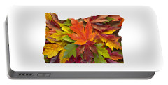 Oregon Maple Leaves Mixed Fall Colors Background Portable Battery Charger