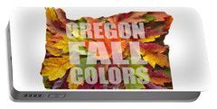 Oregon Maple Leaves Mixed Fall Colors Text Portable Battery Charger