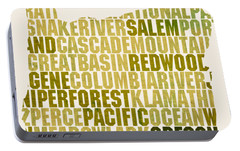 Oregon State Outline Word Map Portable Battery Charger by Design Turnpike