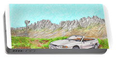 Portable Battery Charger featuring the painting Organ Mountain Mustang by Jack Pumphrey