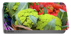 Organic Green Cauliflower At The Farmer's Market Portable Battery Charger