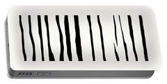 Organic No 12 Black And White Line Abstract Portable Battery Charger