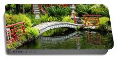 Oriental Bridge In A Tropical Garden Portable Battery Charger