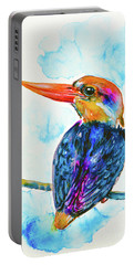 Portable Battery Charger featuring the painting Oriental Dwarf Kingfisher by Zaira Dzhaubaeva