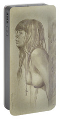 Original Artwork Drawing Female Nude Girl Women On Paper#16-6-29-01 Portable Battery Charger by Hongtao Huang