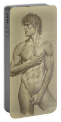 Original Artwork Drawing Sketch Male Nude Man On Brown Paper#16-6-16-03 Portable Battery Charger by Hongtao Huang
