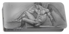 Original Charcoal Drawing Art Angel Of Male Nude On Paper #16-3-11-18 Portable Battery Charger