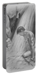 Original Charcoal Drawing Art Male Nude By Twaterfall On Paper #16-3-11-16 Portable Battery Charger