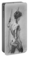 Original Charcoal Drawing Art Male Nude  On Paper #16-3-11-12 Portable Battery Charger