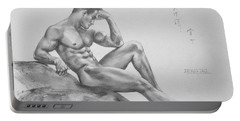 Original Charcoal Drawing Art Male Nude  On Paper #16-3-11-35 Portable Battery Charger