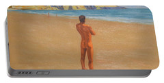 Original Classic Oil Painting Man Body Art Male Nude By The Sea-0017 Portable Battery Charger