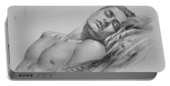Original Drawing  Art Male Nude Men Gay Interest Boy On Paper #11-02-01 Portable Battery Charger
