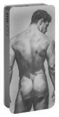 Original  Drawing Artwork Male Nude Men  On Paper #16-1-7 Portable Battery Charger