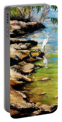 Original Fine Art Painting Pool Edge Gulf Coast Florida Portable Battery Charger