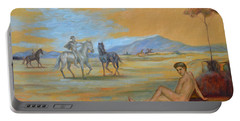 Original Oil Painting Art Male Nude With Horses On Canvas #16-2-5 Portable Battery Charger