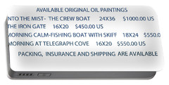 Portable Battery Charger featuring the painting Original Oil Painting Availability List by Gary Giacomelli