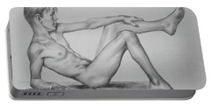 Original Pencil Drawing Male Nude Boy On Paper #16-9-29 Portable Battery Charger by Hongtao Huang