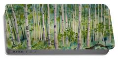 Original Watercolor - Summer Aspen Forest Portable Battery Charger
