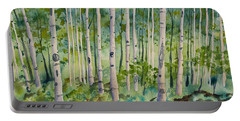 Portable Battery Charger featuring the painting Original Watercolor - Summer Aspen Forest by Cascade Colors