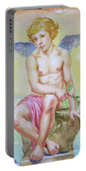 Original Watercolour Angel Of Nude Boy On Paper#16-11-2-01 Portable Battery Charger by Hongtao Huang