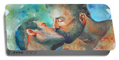 Original Watercolour Painting Art Portrait Of Two Men ' Kiss  On Paper #16-1-26-07 Portable Battery Charger by Hongtao Huang