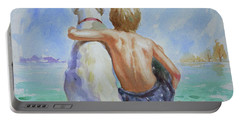 Original Watercolour Painting Nude Boy And Dog On Paper#16-11-18 Portable Battery Charger by Hongtao Huang