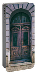 Ornamented Wooden Gate In Violet Tones Portable Battery Charger by Jaroslaw Blaminsky
