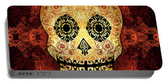 Ornate Floral Sugar Skull Portable Battery Charger by Tammy Wetzel