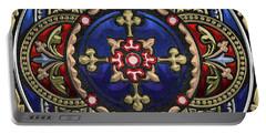 Ornate Medieval Sacred Celtic Cross Over Black Leather  Portable Battery Charger