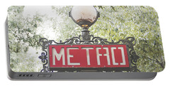 Ornate Paris Metro Sign Portable Battery Charger by Ivy Ho