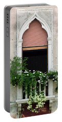 Ornate Window With Red Shutters Portable Battery Charger by Donna Corless