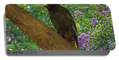 Oropendola Bird On Limb With Floral Background Portable Battery Charger