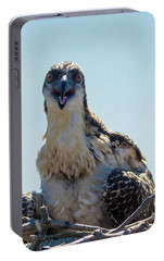 Portable Battery Charger featuring the photograph Osprey Chick Smiles For The Camera Macro by Jeff at JSJ Photography