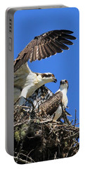 Portable Battery Charger featuring the photograph Osprey Chicks Ready To Fledge by Debbie Stahre