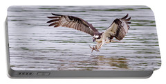 Portable Battery Charger featuring the photograph Osprey Going For Breakfast by Lori Coleman
