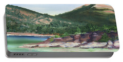 Portable Battery Charger featuring the painting Osprey Island Flaming Gorge by Jane Autry