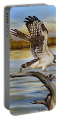 Portable Battery Charger featuring the painting Osprey Landing by Phyllis Beiser