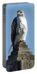 Red Shoulder Hawk On A Post Portable Battery Charger