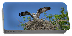 Osprey On Nest Wings Held High Portable Battery Charger