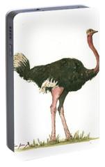Ostrich Bird Portable Battery Charger by Juan Bosco