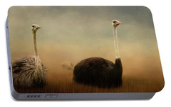 Ostrich Couple Portable Battery Charger by Jai Johnson